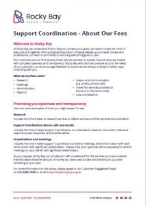 Document explaining Rocky Bay's Support Coordination fees